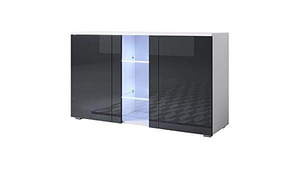 muebles bonitos Aparador Modelo Luke A1 (120x72cm) Color Blanco y Negro con Patas estándar: Amazon.es: Hogar