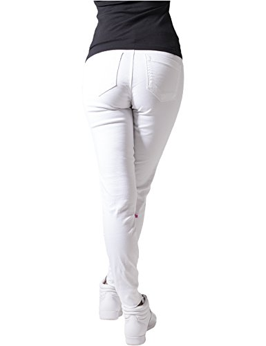 Urban Classics Ladies Stretch Biker Pants, Pantalones para Mujer Weiß (white 220)