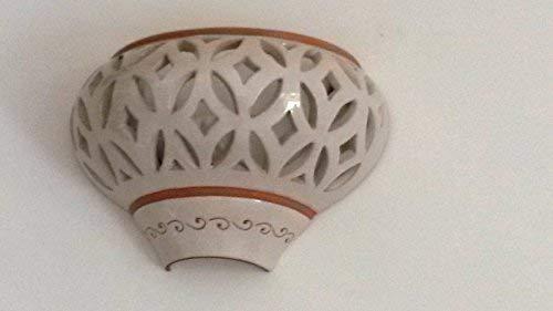 Applique detta corpo unico in ceramica bianca e naturale cm 30