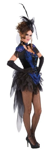 Vegas Girl Costume (Rubie's Costume Victorian Raven Showgirl Dress, Blue, One Size)