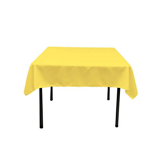 Square Polyester Tablecloth (LA Linen Polyester Poplin Square Tablecloth, 52 by 52-Inch, Light Yellow)