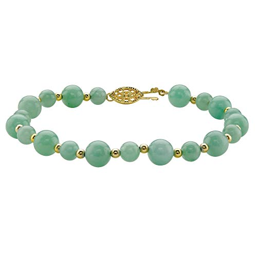 14k Gold Over Sterling Silver Bracelet (8mm), Round Shaped Genuine Green Jade, 8