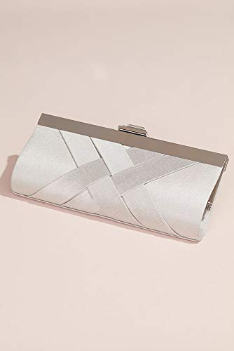 Woven Satin Frame Clutch Style HBGRACE, Silver Beaded Fold Over Clutch