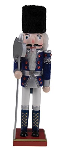 "Traditional Soldier Nutcracker by Clever Creations | Collectible Wooden Christmas Nutcracker | Festive Holiday Decor | White and Blue Velvet Uniform | Holding Silver Halberd Axe | 100% Wood | 12"" Tall"