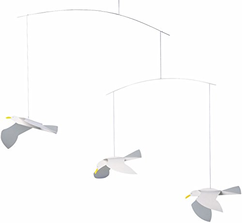 Flensted Mobiles Soaring Seagulls Hanging Mobile - 16 Inches Plastic (Hanging Mobile Art)