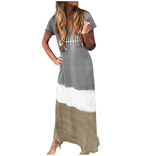 2019 Crew Neck T Shirt Long Mini Dress,Londony Women's Short Sleeve Loose Plain Maxi Dresses Casual Long Dresses Gray