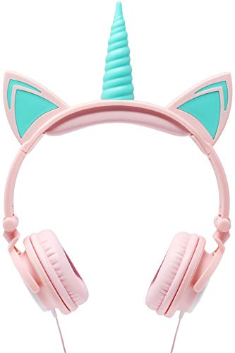 Gabba Goods Premium LED Light Up in The Dark Unicorn Over The Ear Comfort Padded Stereo Headphones with AUX Cable | -