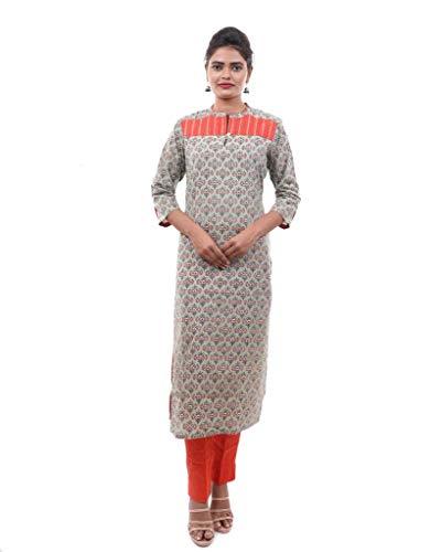 Mivik Cotton Slub Bagru Printed Kurta for Women (Mehandi Green Orange, L)