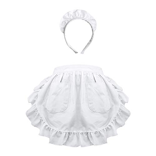 Diy Maid Costume (Aspire Waist Apron w/Headband For Lady Lace Cotton Kitchen Half Apron With Two Pockets Maid)