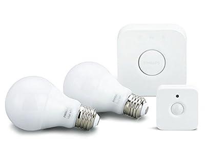 Philips Hue White LED Smart Bulb Starter Kit with Motion Sensor Bundle (Compatible with Amazon Alexa, Apple HomeKit, and Google Assistant)