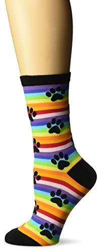 K. Bell Women's Dog Lover Novelty Casual Crew Socks, Paw Prints (Rainbow), Shoe Size: 4-10