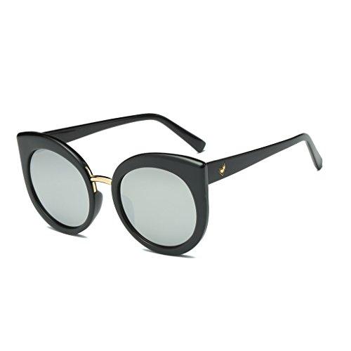 Doober Women Vintage Cat Eye Big Frame Sunglasses Designer Oversized Eyeglasses (Black+White Mercury, - Eyeglasses Oversized Designer