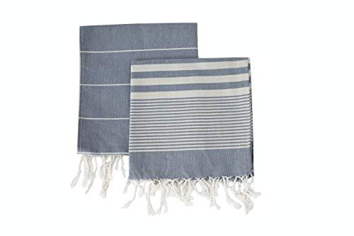 Ahenque Set of 2, Eco-friendly Turkish Tea Towel, Dishclothes, Peshkir, Dish Towel, Kitchen Towel, Hand Towel (Gray)