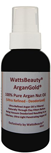 Latest Watts Beauty Ultra ArganGold 100% Certified Pure Argan Oil - Multi-use for Face, Hair, Nails & Body - Naturally Clay Filtered and Vacuum Deodorized Argan Oil - Perfect for Frizz Free Hair, Dry,