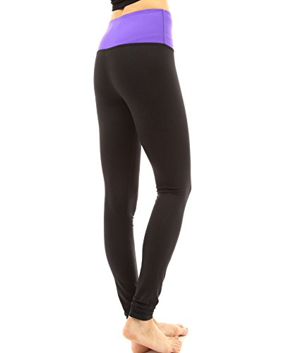 PattyBoutik Mujer la conformación de la serie Hi-Rise legging pantalón de yoga púrpura y negro