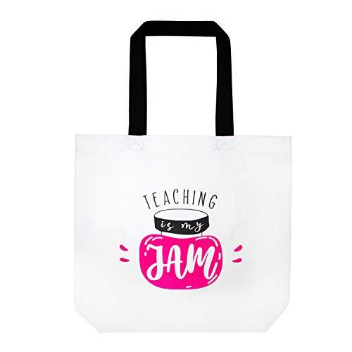 ElegantPark Canvas Tote Bag for Teacher Cotton Shoulder Bag Teacher Gifts Large Reusable White Shopping Tote Bag with Interior Pocket