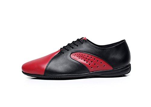 Minishion QJ9017 Herrenmode Leder Ballroom Latin Tango Salsa Tanzschuhe Schwarz Rot