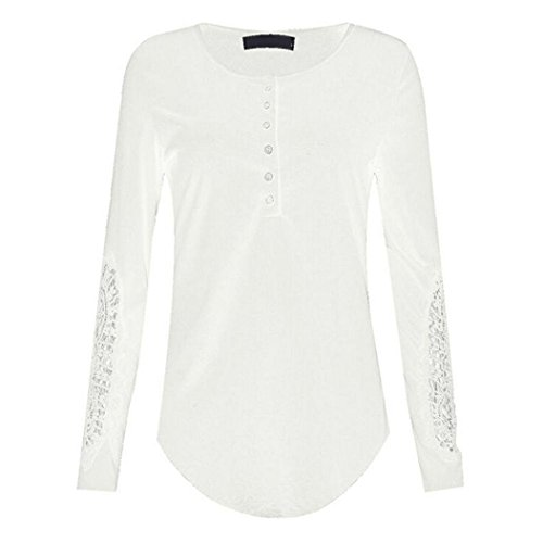 chemise Top rond Pullover Lace Casual Blouse Rtro Lace shirt Sweatshirts T coton Top Casual longues manches manches Col Sexy Camisole T Blanc Moonuy Blouse lache Femme longues shirt 7wqB4Aw5