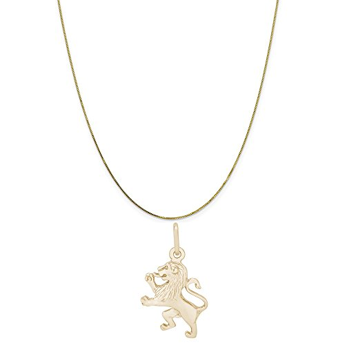 (Rembrandt Charms 14K Yellow Gold Ramped Lion Charm on a 14K Yellow Gold Box Chain Necklace, 16