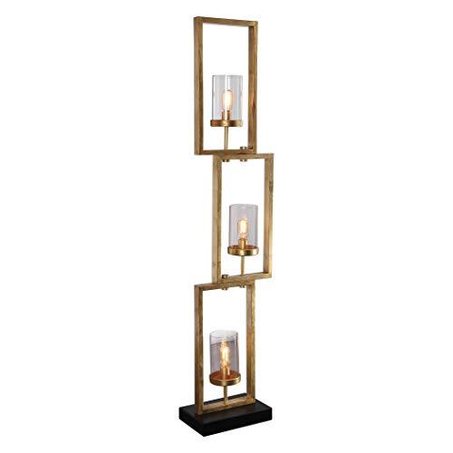 Uttermost Cielo Antique Gold Leaf 3-Light Floor Lamp