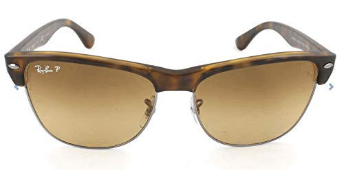Ray-Ban RB4175 Clubmaster Square Oversized Sunglasses, Tortoise Demigloss/Polarized Brown Gradient, 57 mm - Frame Brown Gray Gradient Lenses