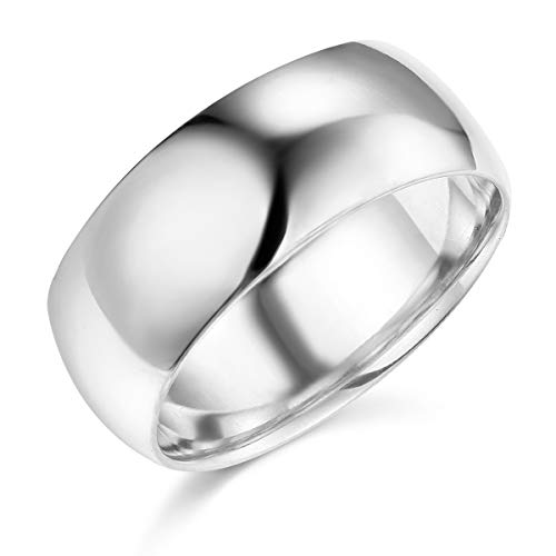 Wellingsale Mens 14k White Gold Solid 8mm COMFORT FIT Traditional Wedding Band Ring - Size ()