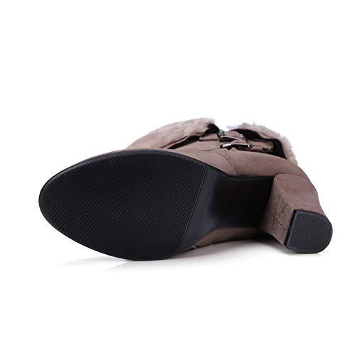 Botines Zapatos Nieve Botas Tacón Invierno Decoración Metal Alto Gris Mujer Con Para Cremallera De Cuadrado Felpa Oscuro Hebilla fg6fwCqxI
