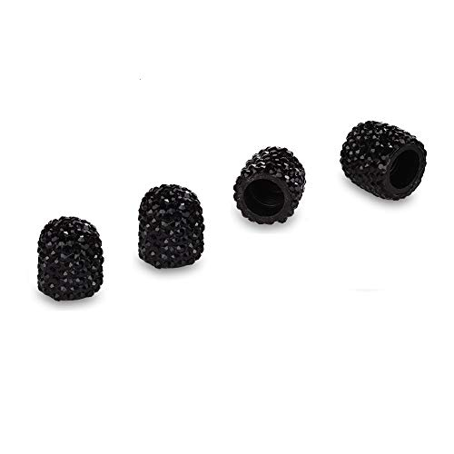 Mini-Factory Car Tire Valve Stem Caps Bling Deluxe Auto Crystal Diamond Accessories Car Tire - Tire Black Diamond