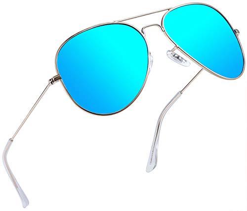 Joopin Classic Polarized Sunglasses for Men - Metal Frame Mirrored Lens Womens Sunglasses E3026 (Sky blue(Big))