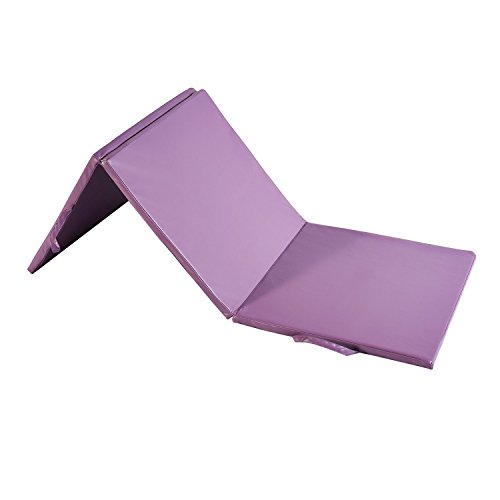 """Wonlink Gymnastic Mat Durable Folding Gymnastic Mat Tumbling Exercise Yoga Fitness PU Leather for Kids Ladies (purple, 2'x6'x1.2"""")"""