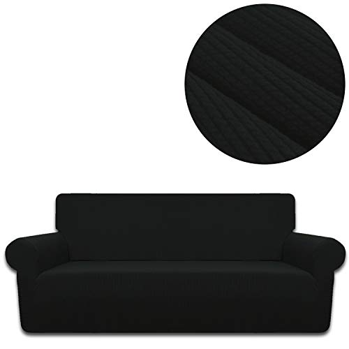 ANJUREN Sofa Loveseat Couch Chair Slipcover Cover 1 Piece 4 Seater T Cushion Large Sofa Couch Slip Cover Shield Protector Stretch Stripes Spandex Living Room Furniture Covers (XL Sofa, Black) (Slipcovers T Cushion Piece Sofa 4)