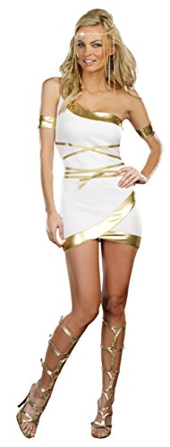 Dreamgirl Womens Roman Greek Worship Me Gold Lame Trimmed Goddess Fancy Costume, M (6-10) (Cheap Greek Goddess Costumes)