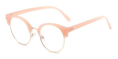 Readers.com The Eclair +1.25 Pink Mixed Material Upswept Browline Reading - Reading Glasses Browline