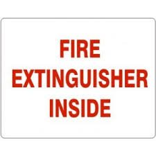 (50 Signs) - FIRE EXTINGUISHER INSIDE, Red on White, Self-Adhesive 3''x4'' Signs