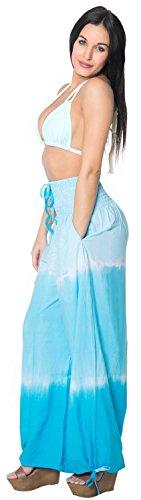 La Leela suave suave lazo rayón playa de las mujeres del tinte desgaste encubrir traje de baño bikini salón damas ropa de noche del pijama ligero ajuste relajado pantalones de cordón de color turquesa