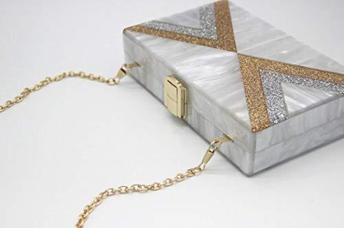 Box for Geometric Purse EROGE Handbags Clutch Perspex Acrylic Grey Colorful Design Women qwR1Tn76xI