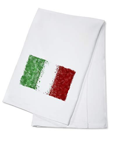 Italian Flag - Abstract Watercolor Splatter (100% Cotton Kitchen Towel)