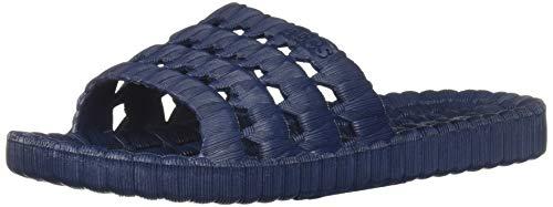 AquaTecs Slide Sandals for Men, Non Slip PVC Sandals, Lightweight Sandal + Beach Shoe, Navy, 10 M US