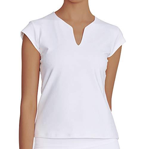 Women's V-Neck Short-Sleeve Yoga Training Top Cool Dri Moisture Wicking Workout T-Shirt White