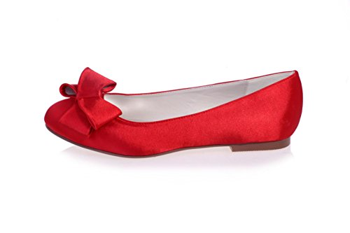 Summer L amp; amp; Wedding amp; YC Silk Party Evening Red Night Women's 9872 Shoes autumn 23 Gown Flats Spring Pn0PgrZR