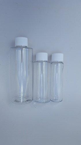 USA-Made Refillable Bottles (Plastic Screw-Top 3pack 4oz-2oz-1oz)