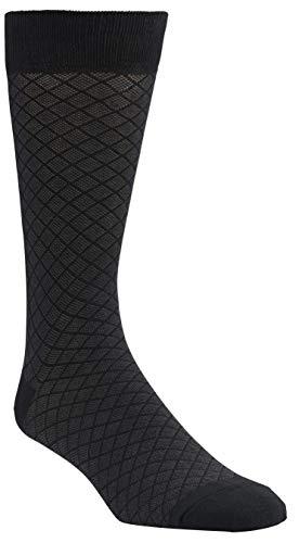 Florsheim Men's Textured Diamond Crew Dress Sock (1 Pair), Black