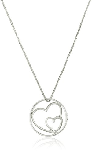 "Sterling Silver ""Mothers and Daughters"" Double Heart Necklace"