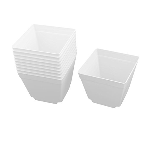 uxcell Plastic Coffee Shop Square Flower Plant Pot Saucer Holder 4 x 4 Inch 10pcs (White Square Coffee Pot)