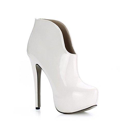 patente KUKIE Best goma deado de de primavera de 14 otoñal alto mujer cm cm Zapatos blanco de zapatos suela de de 3 cuero 4U redondo tacón Plataformas 88wCdqAxr