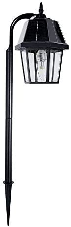 Gama Sonic Solar Garden Light or Landscape Pathway Lamp, Shepherd Hook, 7 x 21.5 , Black