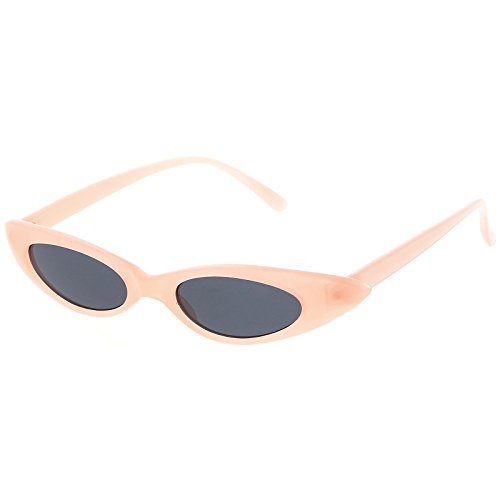 sunglassLA - Pastel Thin Extreme Oval Sunglasses Neutral Colored Oval Lens 47mm (Pink / - Design Sunglasses Optics
