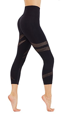 CodeFit Yoga Power Flex Dry-Fit Latest Fade Dye Active Capri With Mesh Compression Pants Workout Leggings (S USA 2-4, CFD25-Black (Soled))