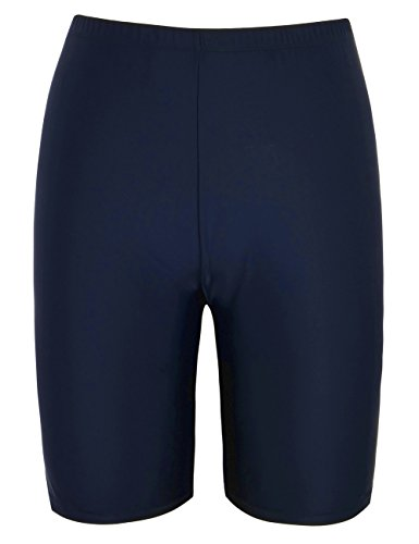 Hilor Women's UV Long Bike Swim Shorts Rash Guard Boy Leg Active Sport Pants Navy 14