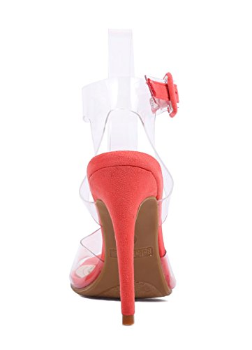 Heels Sandals Fashion Vamp Stiletto 5 Womens Shoes Transparent Strap Sexy Coral Buckle Dress Ankle High Clear q04qpxT7